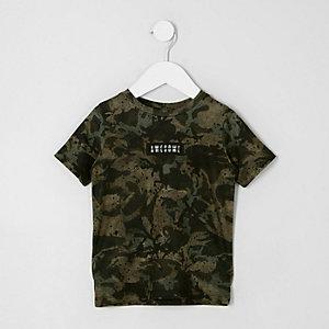 Mini - Kakigroen T-shirt met camouflageprint voor jongens