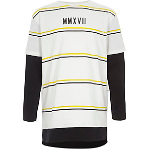 Boys white stripe double layer T-shirt