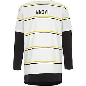 Wit gestreept T-shirt met dubbele laag voor jongens