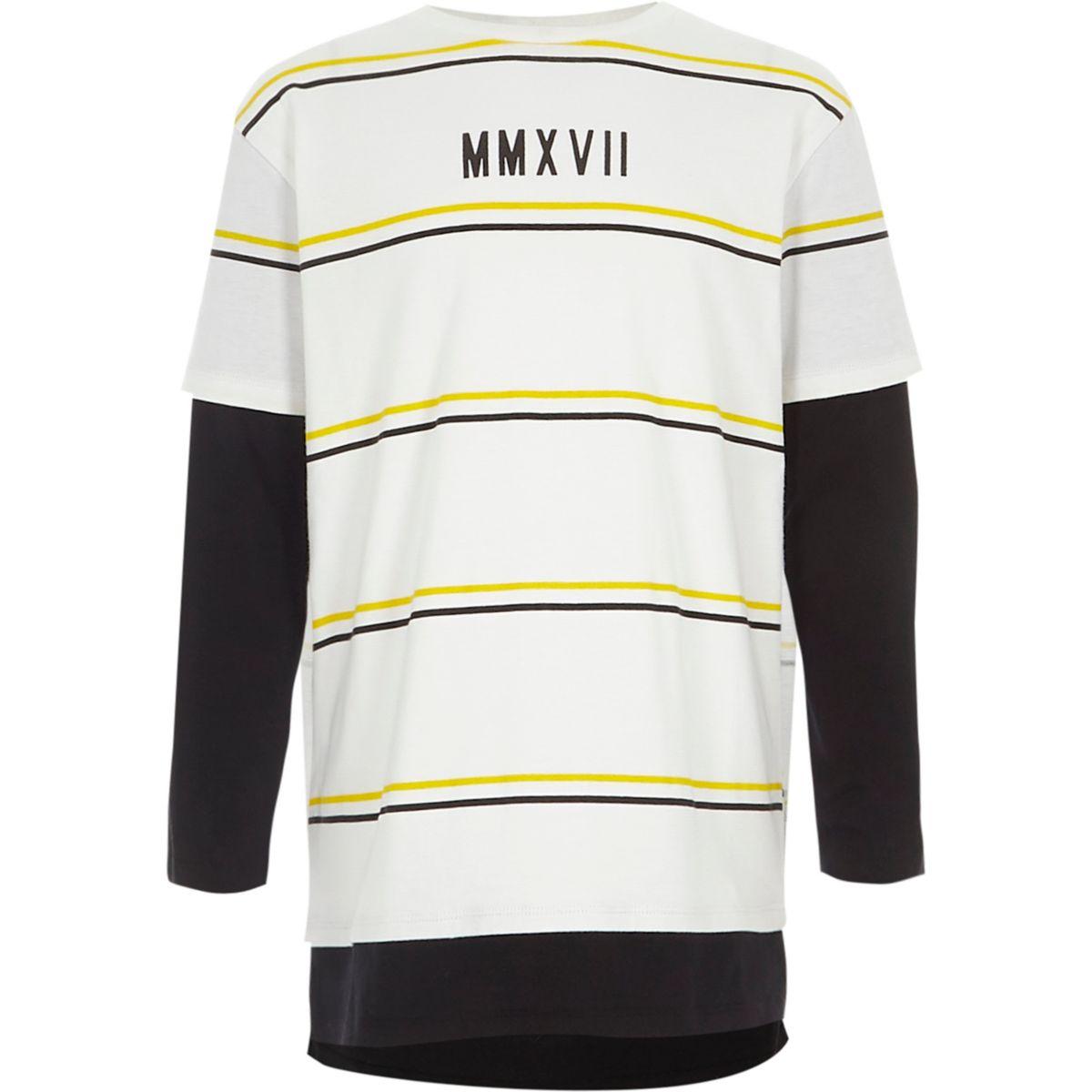 Boys white stripe double layer T-shirt