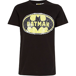 Boys black Batman reversible sequin T-shirt