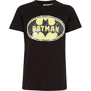 """Schwarzes, wendbares T-Shirt mit Paillettenverzierung """"Batman"""""""