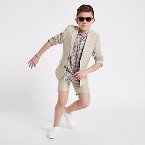 Short de costume en lin crème garçon