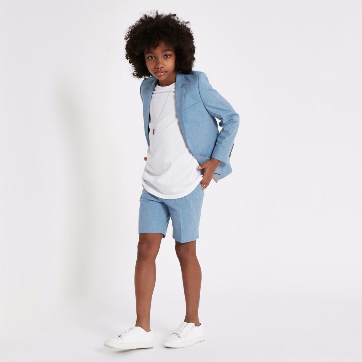 Short de costume en lin bleu pour garçon
