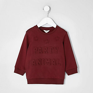 Mini boys burgundy 'party' 3d sweatshirt
