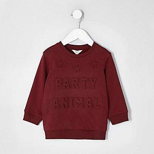 Mini - Bordeauxrood sweatshirt met 3d 'party'-print voor jongens