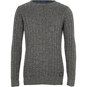 Boys grey textured knit jumper