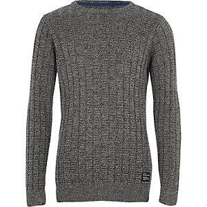 Grijze gebreide pullover met textuur voor jongens