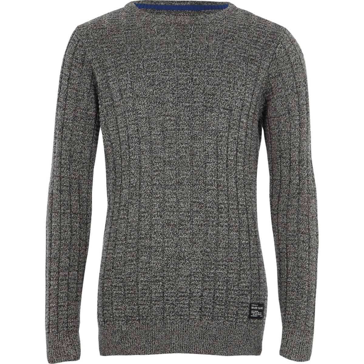 Boys grey textured knit jumper