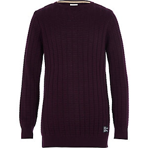 Boys purple textured knit jumper