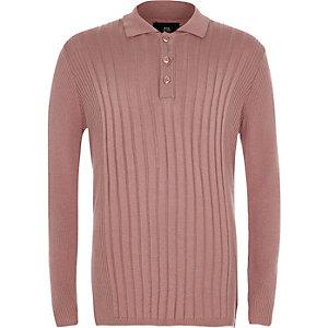 Pinkes, geripptes Polohemd mit langen Ärmeln für Jungen