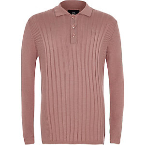 Boys pink ribbed long sleeve polo shirt