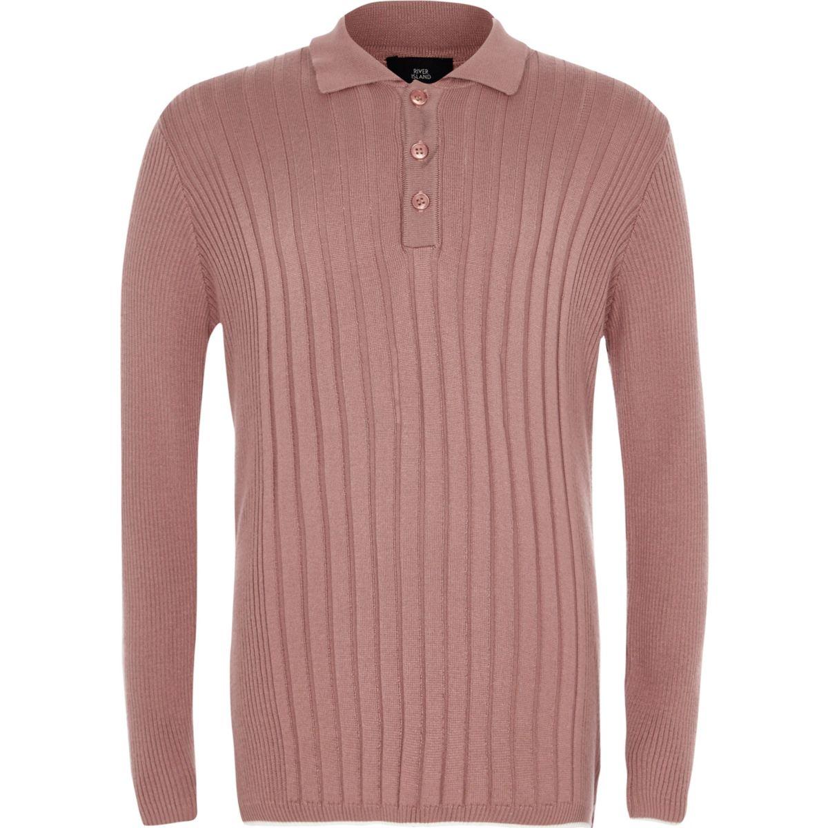 Boys pink ribbed long sleeve polo shirt polo shirts boys for Ribbed long sleeve shirt