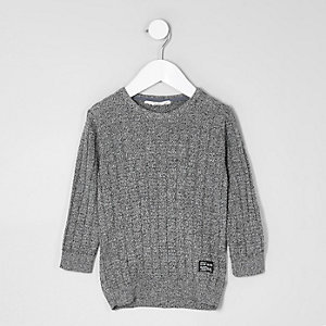 Mini boys dark grey crew neck sweater