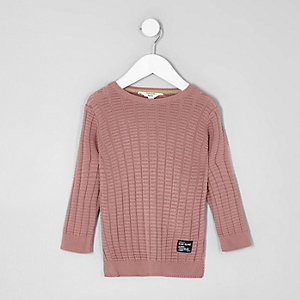 Mini boys pink textured jumper