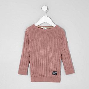 Mini - Roze pullover met textuur voor jongens