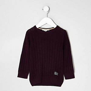 Mini boys dark red textured jumper