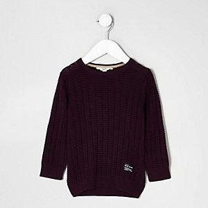 Mini - Donkerrode pullover met textuur voor jongens