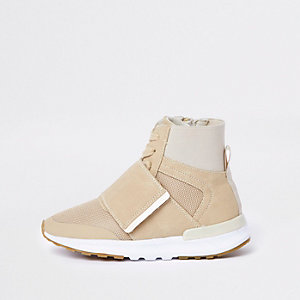 Kids beige high top sports trainers