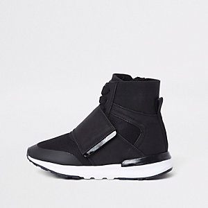 Kids black high top sports trainers