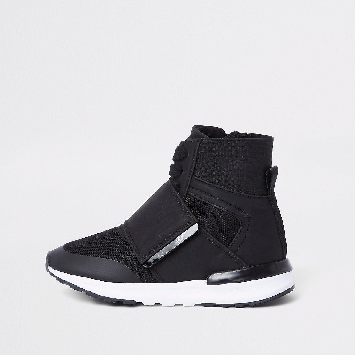 Kids black high top sports sneakers