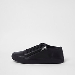Boys black lace-up zip side sneakers