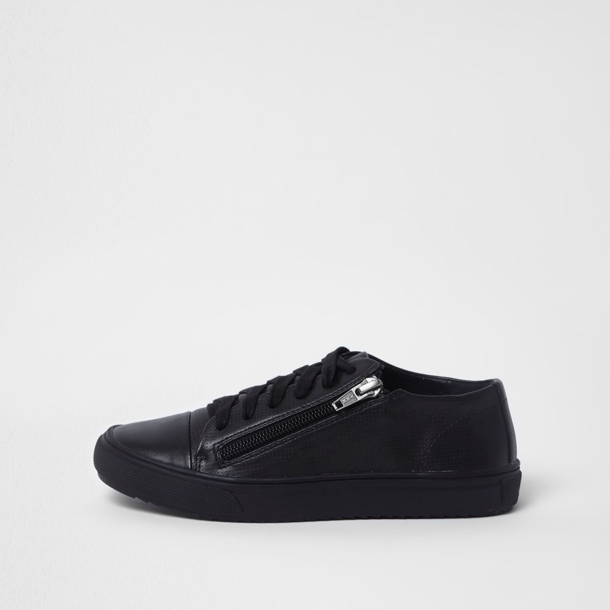 Boys black lace-up zip side trainers