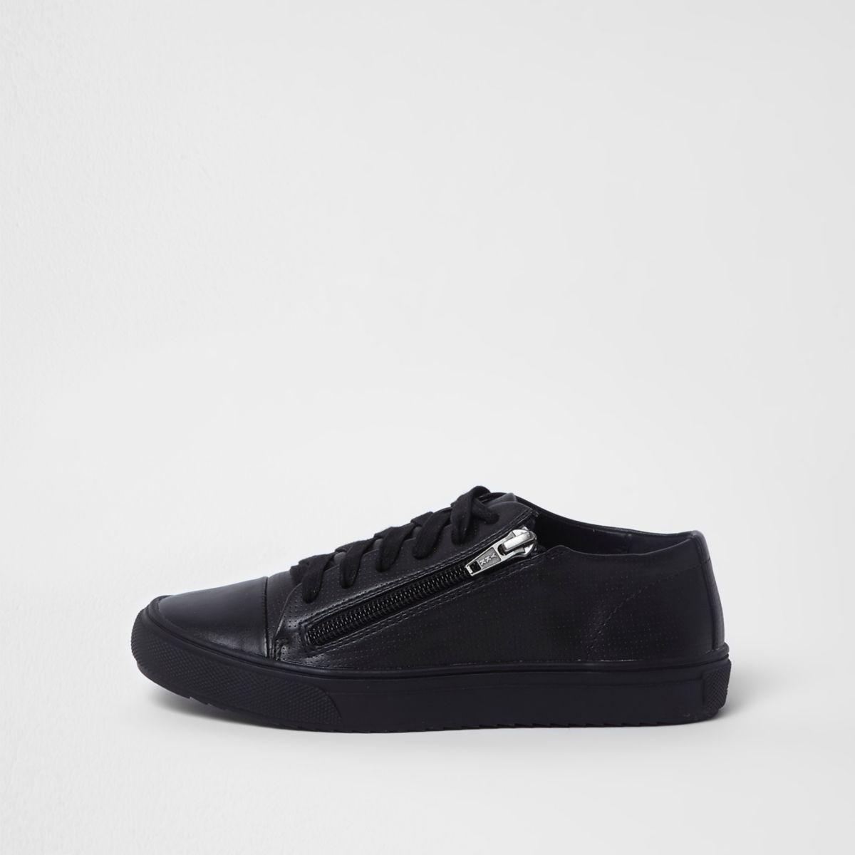 Boys black lace-up zip side sneakers