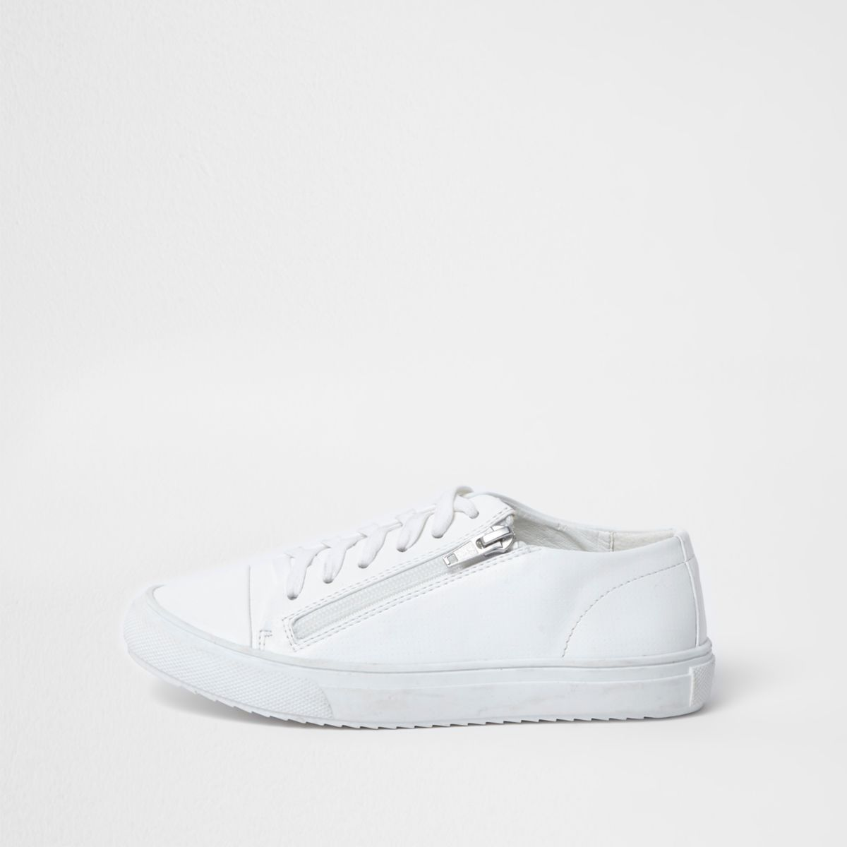 Kids white lace-up zip side trainers