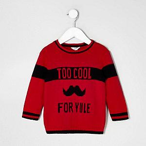 Mini - Rode gebreide pullover met 'Too cool for yule'-print voor jongens