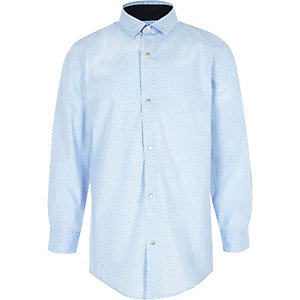 Boys light blue polka dot print shirt