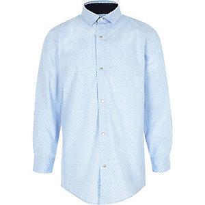 Chemise bleu clair à pois pour garçon