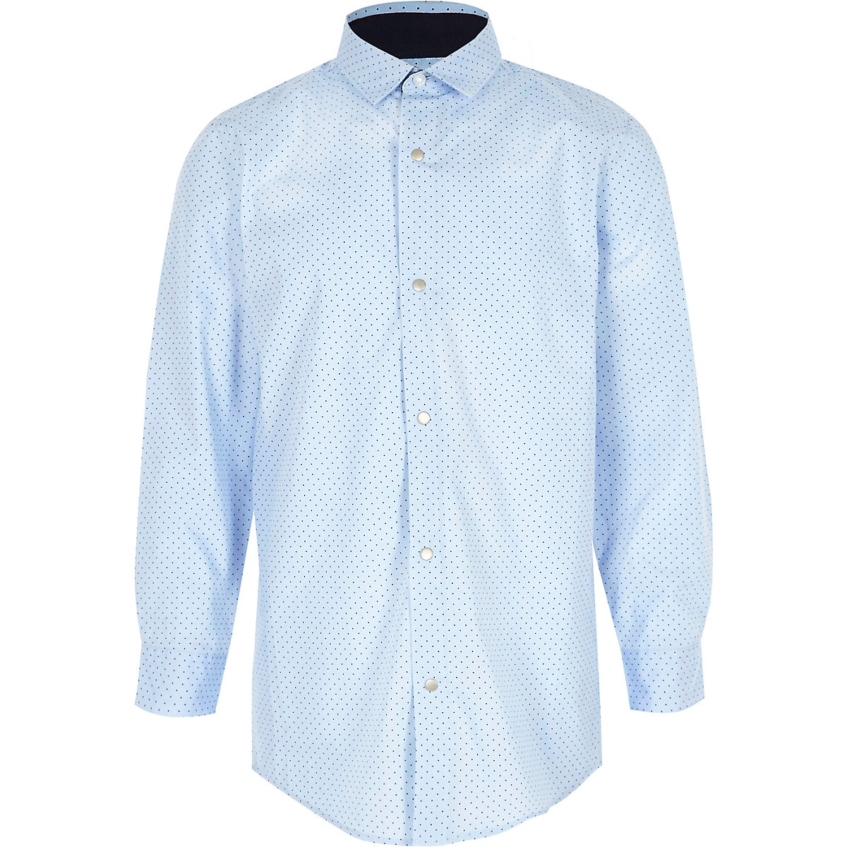 Boys light blue polka dot print shirt