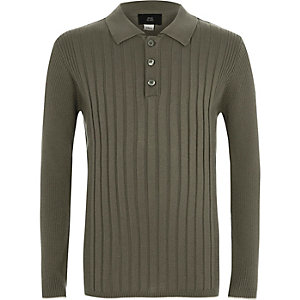 Boys khaki ribbed long sleeve polo shirt