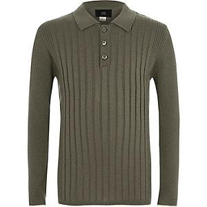 Geripptes, langärmeliges Polohemd in Khaki für Jungen