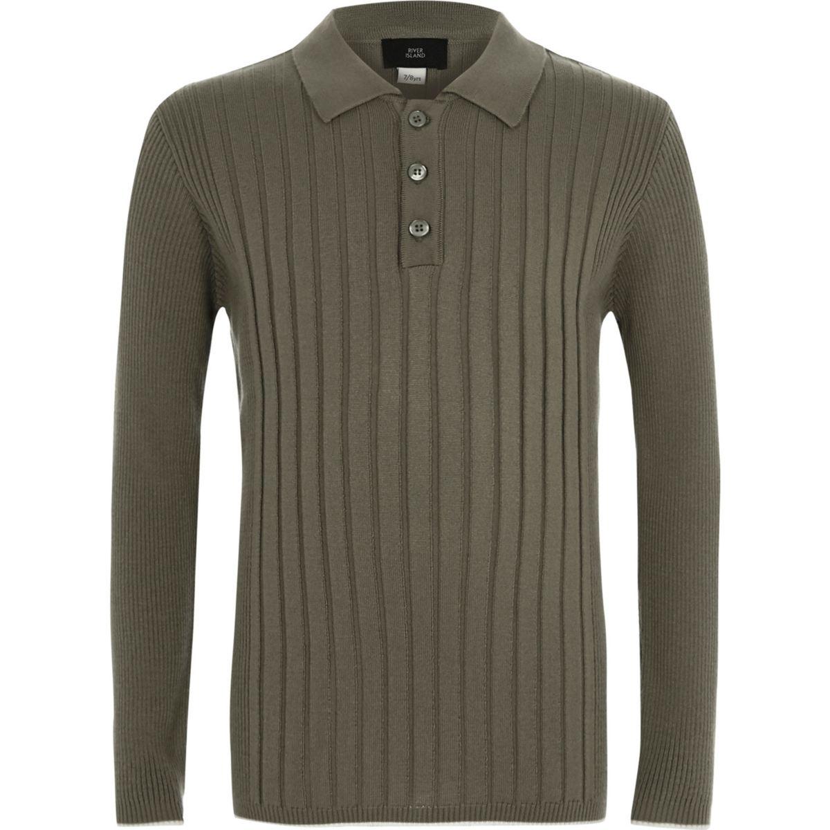 Boys khaki ribbed long sleeve polo shirt - Polo Shirts - boys