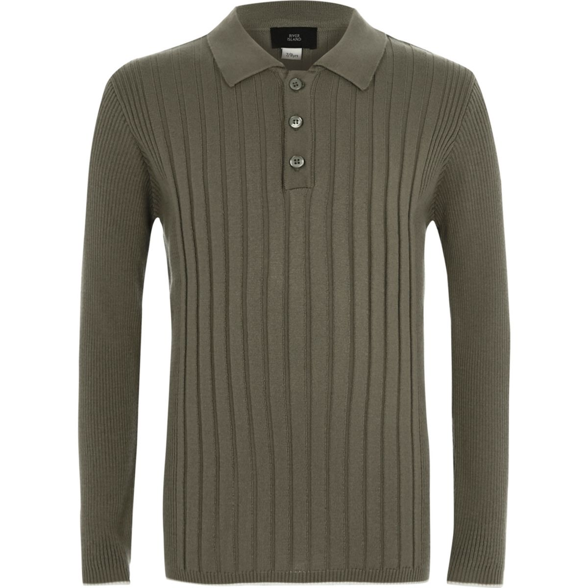 Boys khaki ribbed long sleeve polo shirt