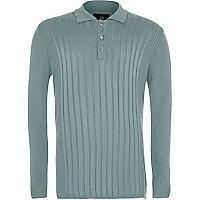 Boys mint green ribbed long sleeve polo shirt