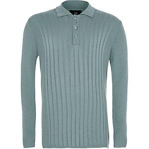 Geripptes, langärmeliges Polohemd in Mintgrün für Jungen