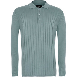 Boys mint green ribbed long sleeve polo shirt