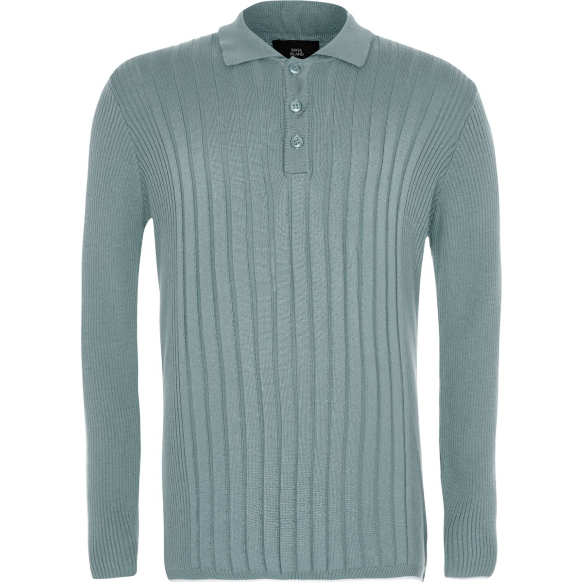 Boys Mint Green Ribbed Long Sleeve Polo Shirt Polo