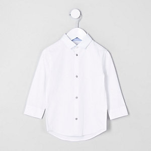Mini boys white long sleeve shirt