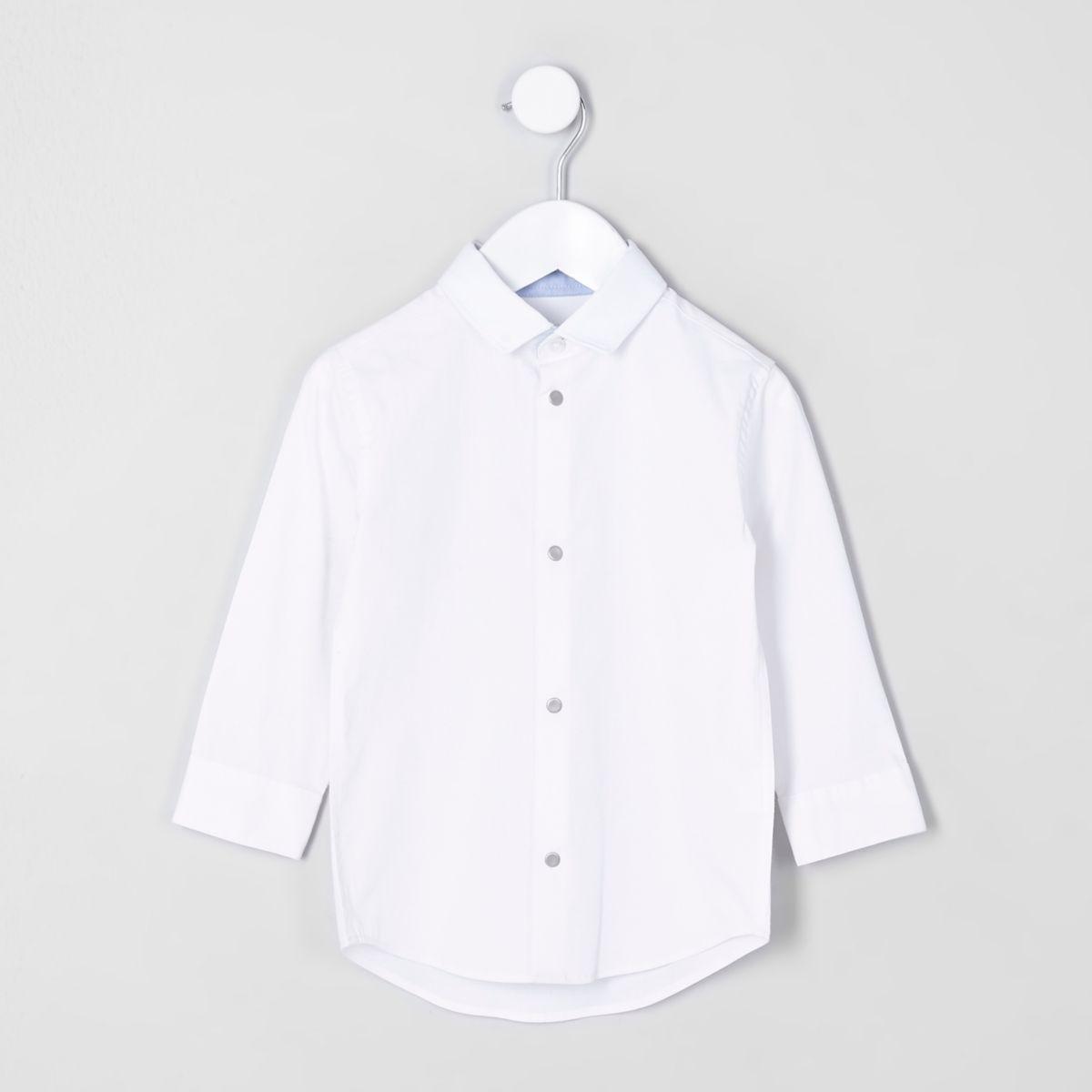 Mini boys white long sleeve shirt