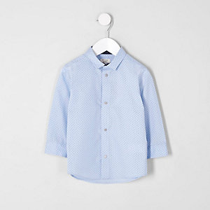 Chemise bleu clair à pois mini garçon