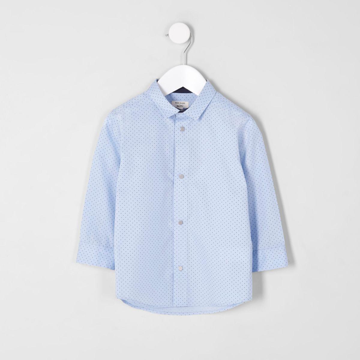 Mini boys light blue polka dot print shirt
