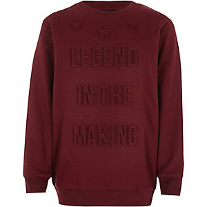 Boys burgundy 'legend' 3D sweatshirt