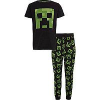 Boys black Minecraft print pyjama set