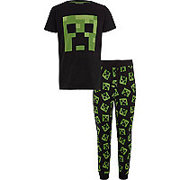 Boys black Minecraft print pajama set