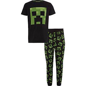 Schwarzes Minecraft-Pyjama-Set