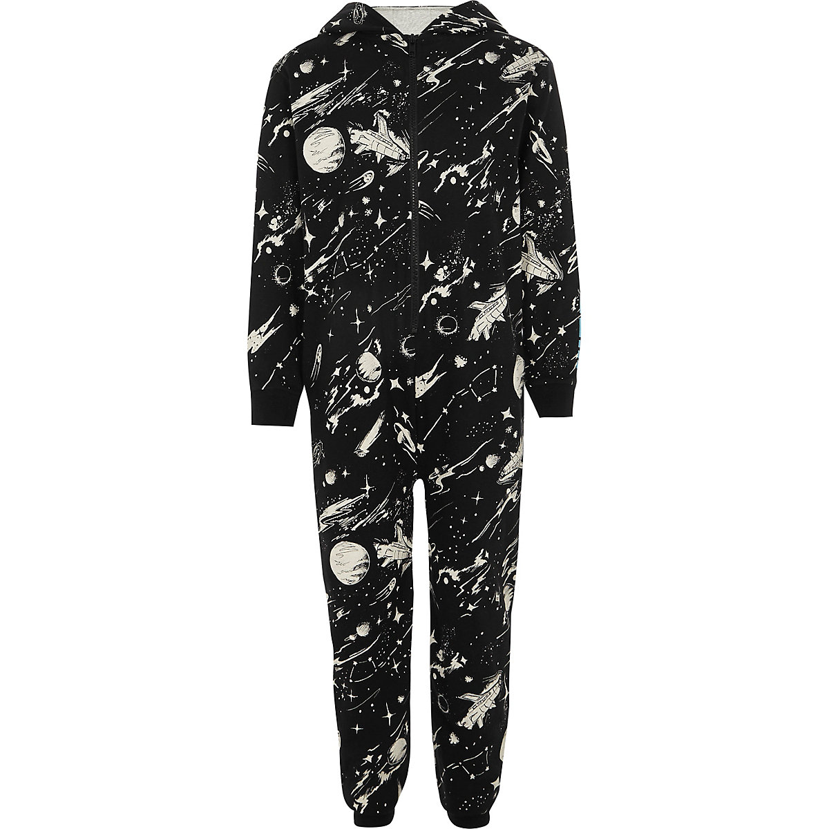 Boys black space theme print onesie